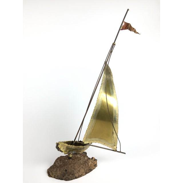 Americana Curtis Jere Style Brass Boat Sculpture For Sale - Image 3 of 4