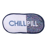 """Image of Designer Needlepoint """"Chill Pill"""" Pillow, Original Design Hand-Stitched by Artist For Sale"""