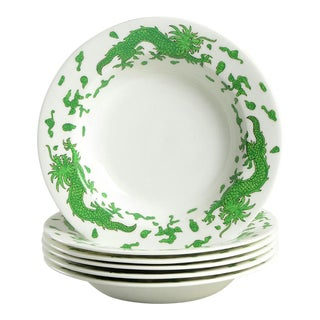 Hammersley Green Dragon Rim Soup Bowl Set/6 For Sale
