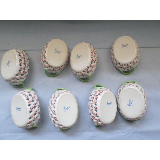 Vintage Herend Hungary Porcelain Lattice & Cherry Design Individual Nut or Sweetmeat Baskets - Set of 8 For Sale - Image 10 of 12