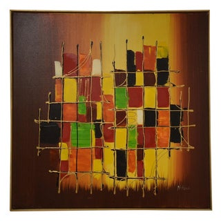 Original Mid Century Abstract Painting For Sale