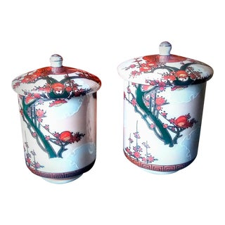 Antique Japanese Wedding Teacups With Calligraphy - A Pair For Sale