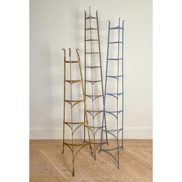 Late 19th Century Antique American Blue Iron Plate Rack For Sale - Image 5 of 7