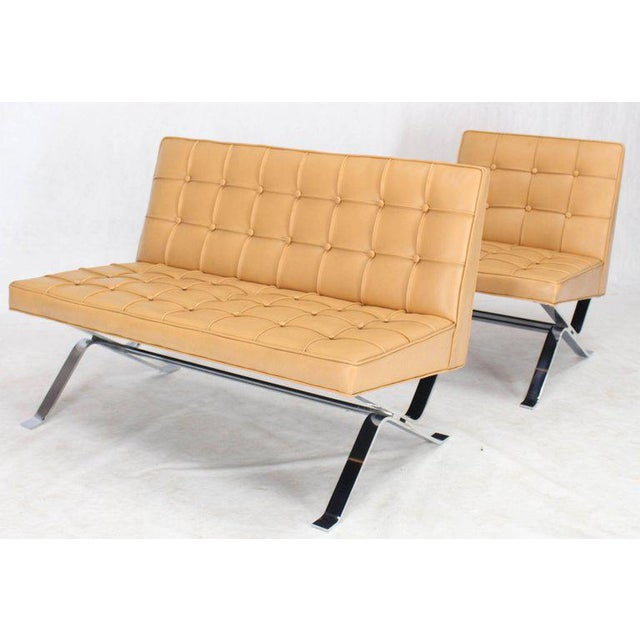 Mid-Century Modern Tufted Upholstery Chrome Base Settee Loveseat and Chair Set - 2 Pieces For Sale - Image 9 of 11