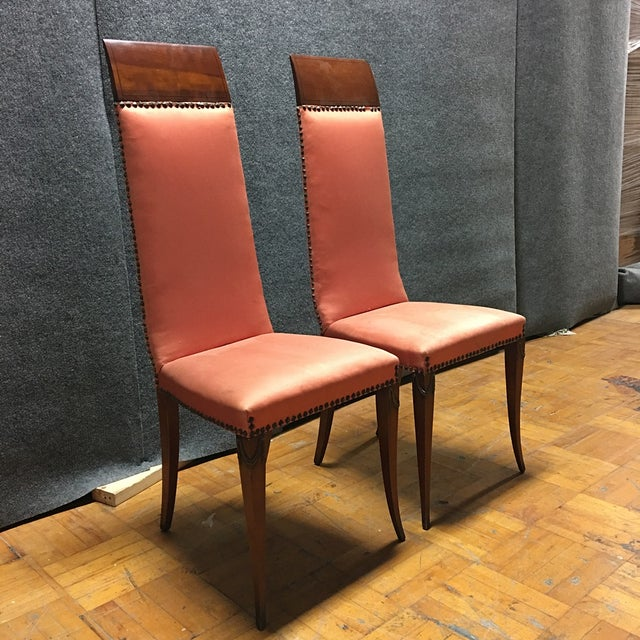 Antique Orange High Back Chairs - A Pair - Image 2 of 7