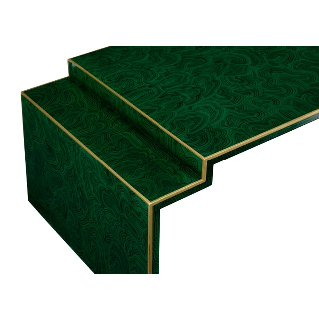 Malachite finished wood with gold edging table