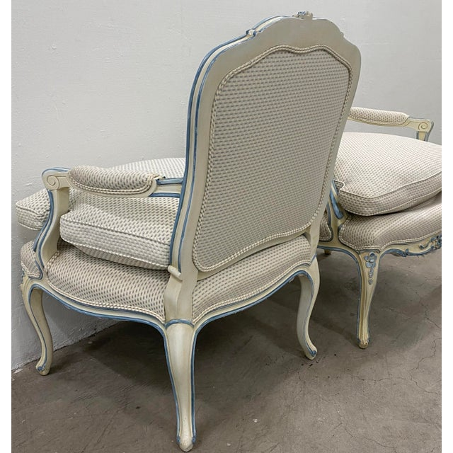 Pair of French Style Carved & Upholstered Arm Chairs C.1940s For Sale - Image 9 of 10