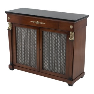 John Scalia Schmieg & Kotzian Regency Neoclassical Empire Server Cabinet Brass Mounts Mahogany Ebonized Top For Sale