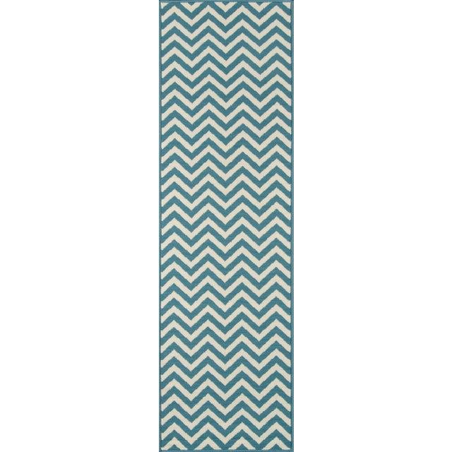 "2010s Momeni Baja Blue Indoor/Outdoor Rug - 6'7"" X 9'6"" For Sale - Image 5 of 6"