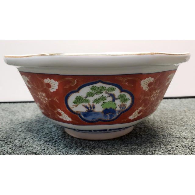 Vintage 1970s Japanese Takahashi Imari Style Porcelain Octagonal Bowl For Sale - Image 4 of 8