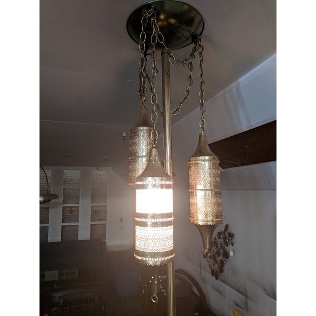 Mid Century Tension Pole Swag Lamp With 3 Brass Moroccan Style Fixtures For Sale - Image 4 of 8