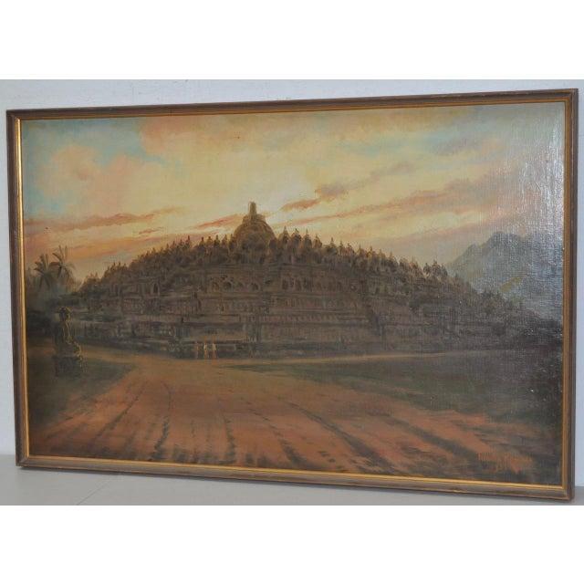 Mid-Century Javanese Temple Oil Painting by Frederik Kasenda C.1950s For Sale In San Francisco - Image 6 of 9