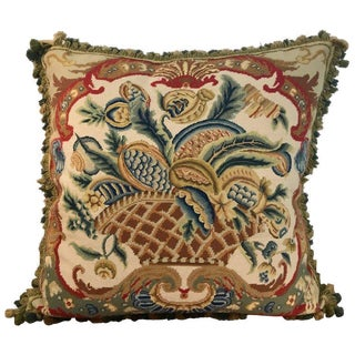 Large Antique Needlepoint Pillow I For Sale