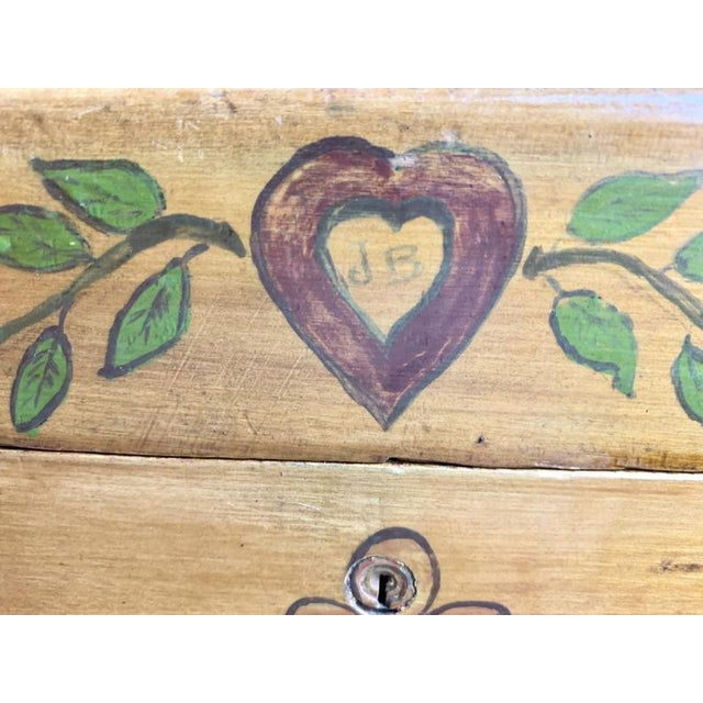 Small Hand Painted Folk Art Wooden Trunk For Sale - Image 9 of 11