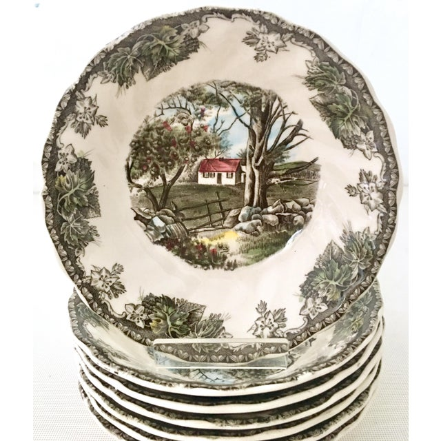 """Johnson Brothers 1950's Johnson Brothers English """"Friendly Village"""" Dinnerware - Set of 17 For Sale - Image 4 of 13"""