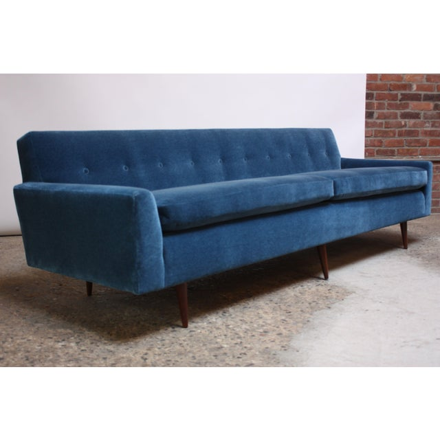 Milo Baughman for Thayer Coggin Walnut Sofa in Blue Mohair For Sale - Image 13 of 13
