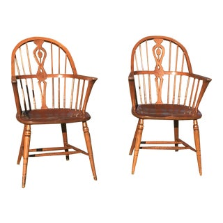 Mid-Century B. Ll Marble Windsor Style Chairs - A Pair