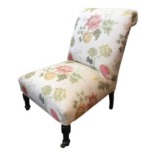 Late 19th Century Vintage Scalamandre Floral Upholstery Fabric Late Victorian Slipper Chair For Sale