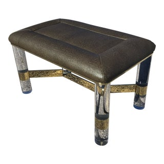 Karl Springer Lucite & Brass Bench With Edelman Faux Shagreen Leather For Sale