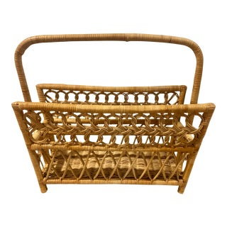 Mid Century Modern French Blonde Wrapped Rattan Cane Wicker and Magazine Rack For Sale