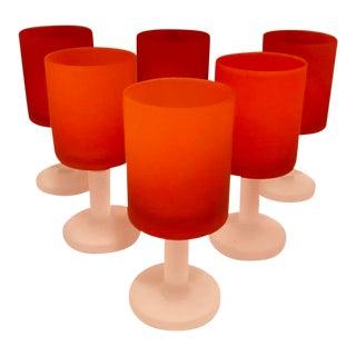 """Italian Murano Glass """"Satinato"""" Goblets Designed by Carlo Morretti, Set of 6 For Sale"""