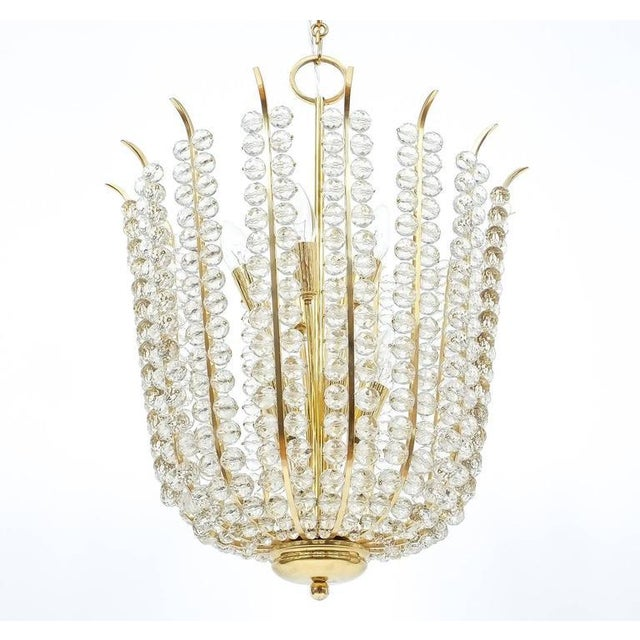 Mid-Century Modern Majestic Basket Crystal and Brass Chandelier Bakalowits, circa 1950 For Sale - Image 3 of 9