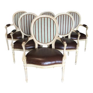 1970s Louis XV Style Leather Dining Chairs - Set of 6