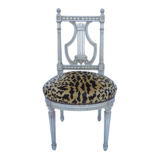 Vtg Louis XVI Style Vanity Chair Stool Lyre Back Leopard Print Upholstery 1950s For Sale