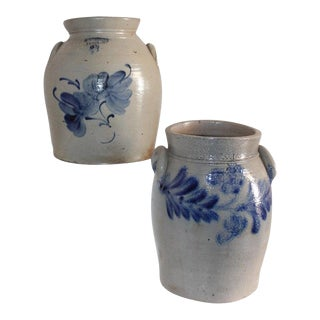 19th Century Decorated Stone Ware Pottery Crocks - a Pair For Sale