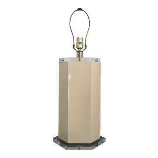 Off White Lacquer Hexagon Lamp with Lucite Base & Finial For Sale
