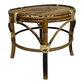 Small Vintage Burnt Bamboo Stool For Sale