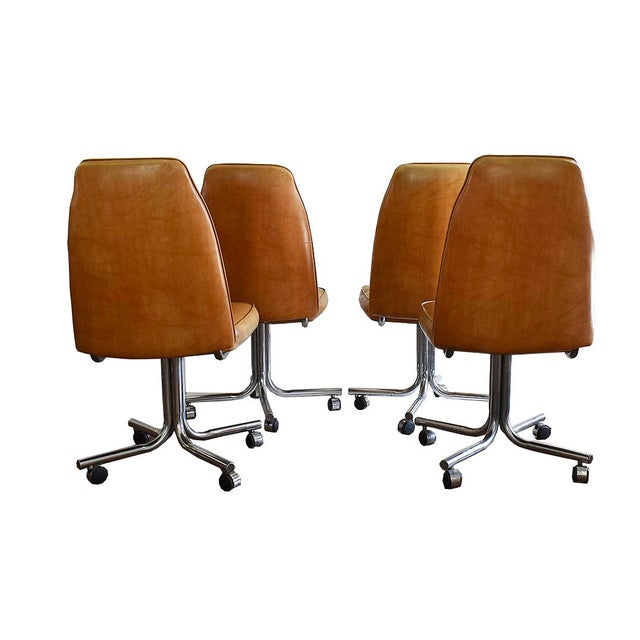Vintage Mid-Century and Chrome Vinyl Rolling Bucket Chairs - Set of ...