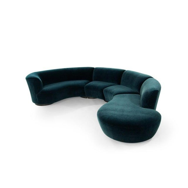 Mid-Century Modern Vladimir Kagan for Directional Sectional in Teal Mohair, Circa 1970s For Sale - Image 3 of 12
