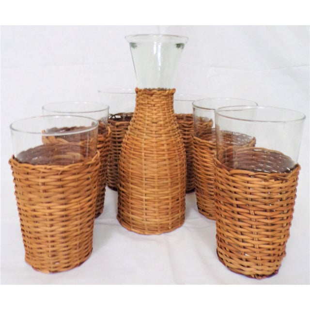 Vintage Rattan Wine Carafe and Glasses - Set of 7 For Sale - Image 10 of 11