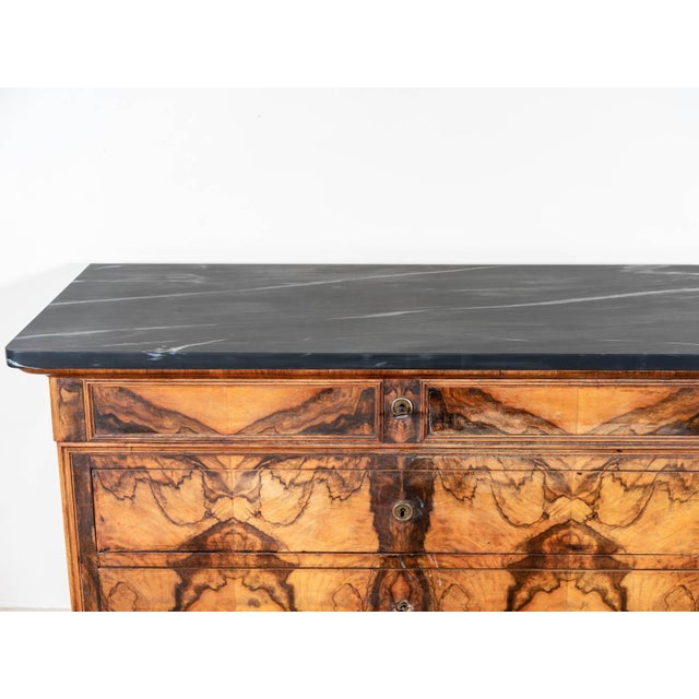 French Antique Marble Topped Veneer Chest For Sale - Image 3 of 6