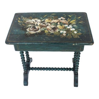 Antique Barley Twist Tole Painted Table For Sale