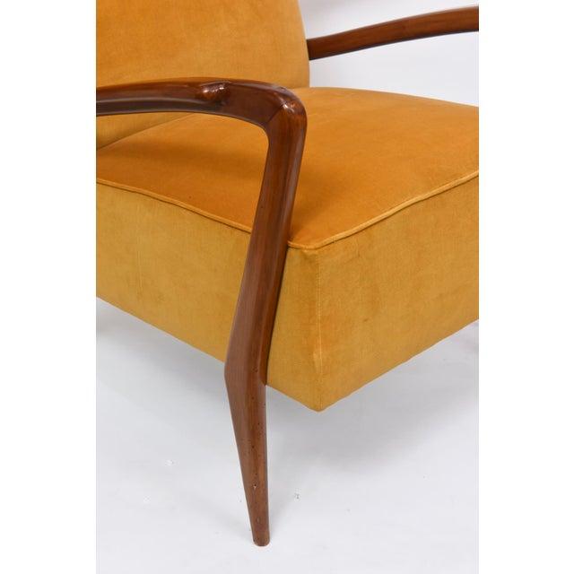1950s Rare Pair of Italian Modern Walnut Armchairs, Orlando Orlandi For Sale - Image 5 of 11