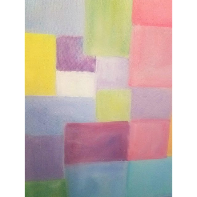 """Abstract Original Contemporary """"Patchwork"""" Oil Painting by Christine Frisbee For Sale - Image 3 of 8"""