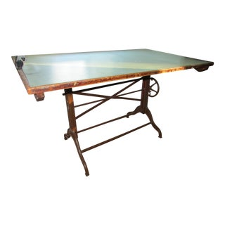 1920s Industrial Architect's Dietzgen Cast Iron Drafting Table For Sale