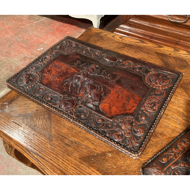 Brown 19th Century French Gothic Embossed Leather Five-Piece Desk Set For Sale - Image 8 of 13