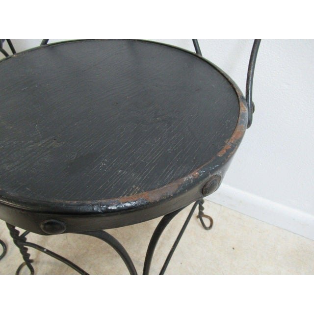Antique Wire Metal Ice Cream Parlor Salon Game Table Side Chairs - Set of 4
