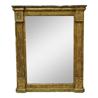 Italian Classical Florentine Giltwood Distressed Gold Looking Glass Wall Mirror For Sale
