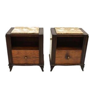 1930's French Art Deco Burl Wood Marble Top Bedside Table - a Pair For Sale