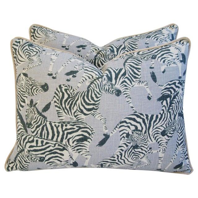 """Safari Zebra Linen/Velvet Feather & Down Pillows 24"""" X 18"""" - Pair For Sale"""
