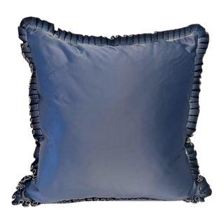 Modern Blue Satin Ruffle Pillow For Sale
