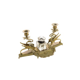 Double Griffin Brass Candleholders W/ Crystal Inkwell For Sale