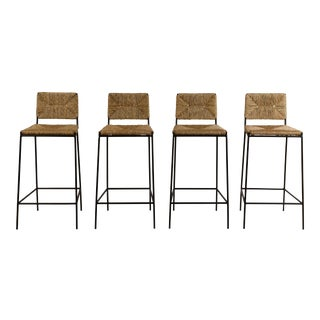 Set of 4 'Campagne' Steel and Rush Counter Stools by Design Frères For Sale