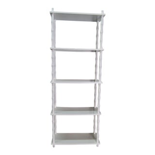 Vintage White Lacquer Etagere With 5 Shelves For Sale