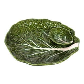 Green Majolica Cabbage Leaf Chip & Dip or Crudité Platter For Sale