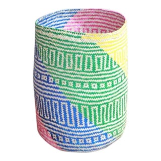 Hand-Woven Palm Trash Basket For Sale